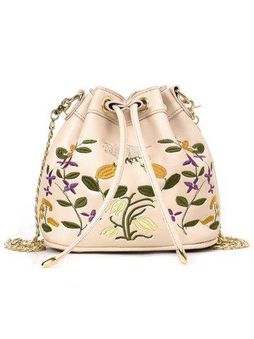 Cheap Embroidery Drawstring Crossbody Bag with Chain Strap