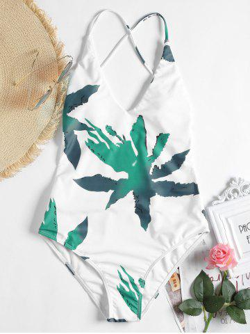 Affordable Low Back Patterned One Piece Swimsuit