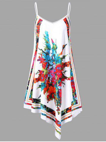 Store Spaghetti Strap Floral Handkerchief Mini Dress