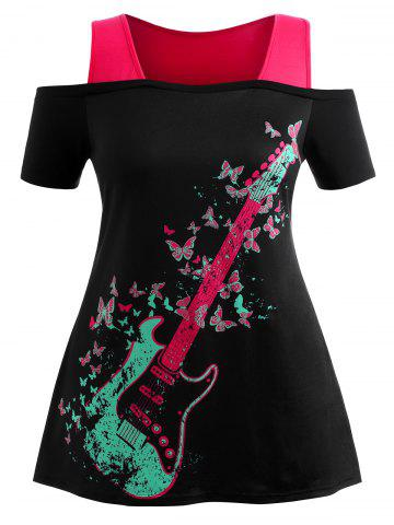 Affordable Plus Size Butterfly Graphic Open Shoulder Tee