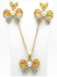 Faux Pearl Rhinestone Bows Necklace with Earring Set -