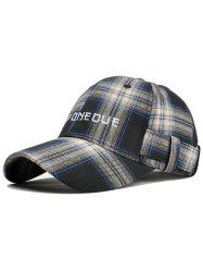 Tartan Pattern Letter Embroidery Baseball Hat -