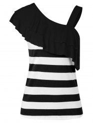 Flounce Skew Collar Striped Tank Top -