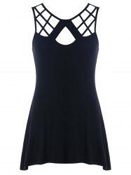 Cut Out Lattice Front Lace Up Tank Top -