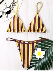 Striped Thong Bikini Set -