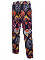 Ethnic Drawstring Straight Leg Paisley Printed Casual Pants -