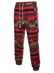 Drawstring Waist Elephant Striped Pattern Sweatpants -