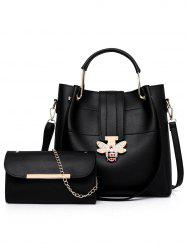 2 Pieces Bee Shape Closure Embellished Handbag Crossbody Bag Set -