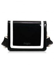 Stripe Two Tone Patent Leather Crossbody Bag -