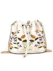 Embroidery Drawstring Crossbody Bag with Chain Strap -