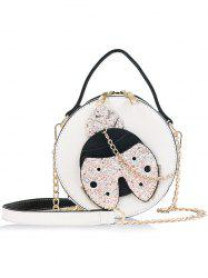 Round Shape Shining Ladybud Chain Crossbody Bag -