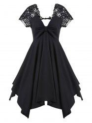 Ruched Lace Panel Cut Out Mini Dress -