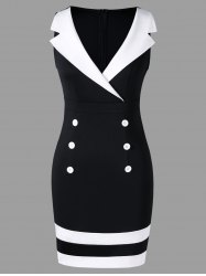 Double Breasted Notched Collar Tight Dress -