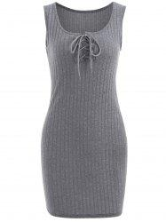 Ribbed Lace Up Bodycon Dress -