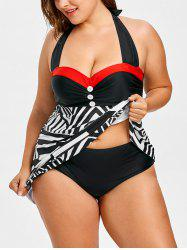 Abstract Geometric Plus Size Empire Waist Tankini -