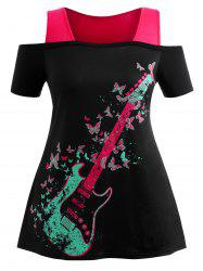 Plus Size Butterfly Graphic Open Shoulder Tee -