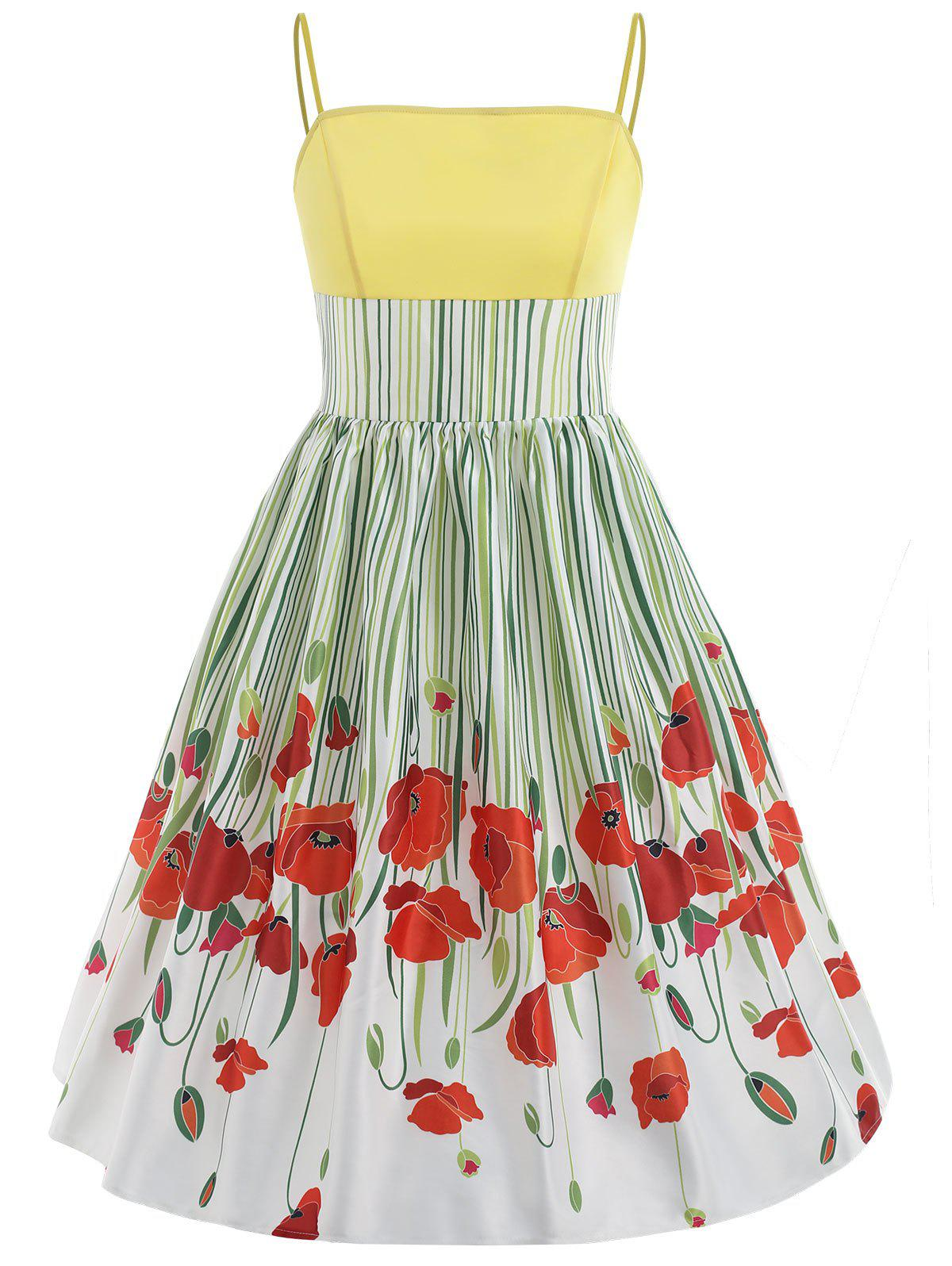 Discount Floral Print Striped Swing Dress