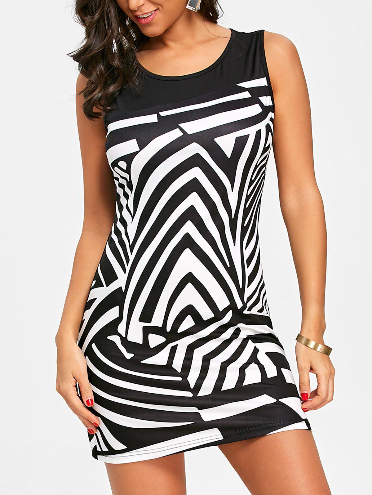 Cheap Abstract Geometric Print Sleeveless Dress