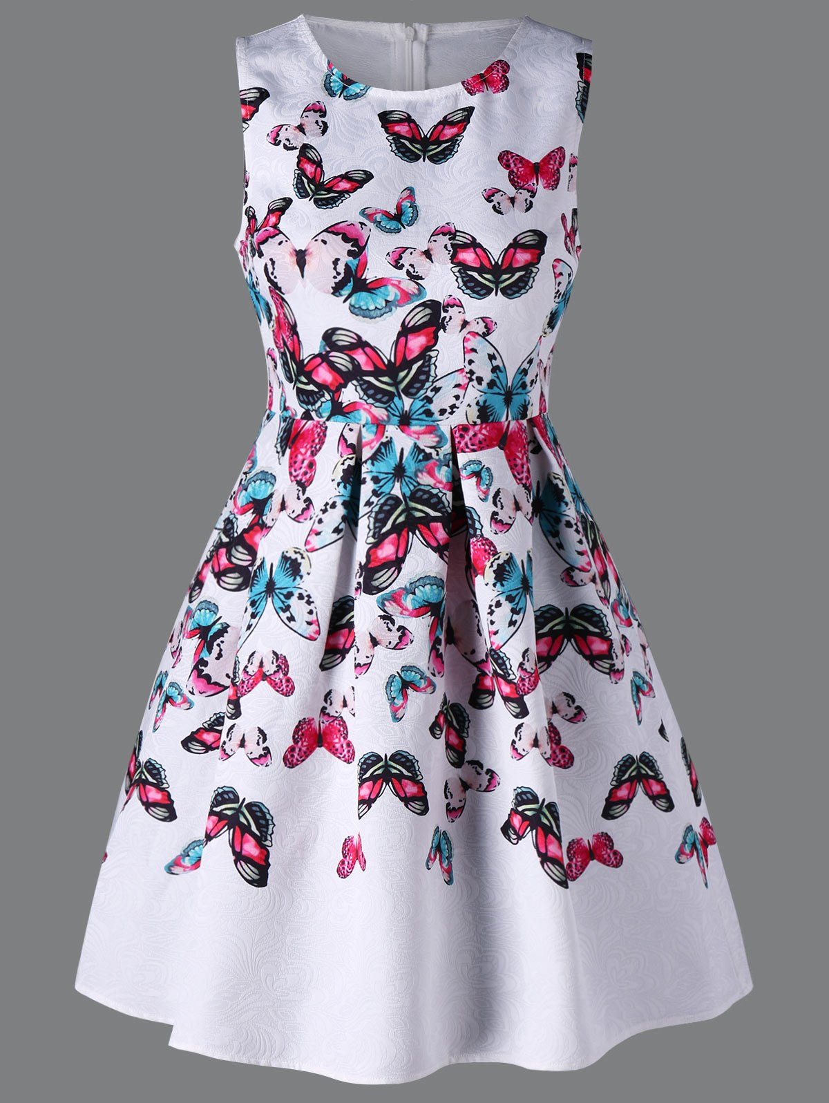 Cheap Butterfly Print Sleeveless Dress