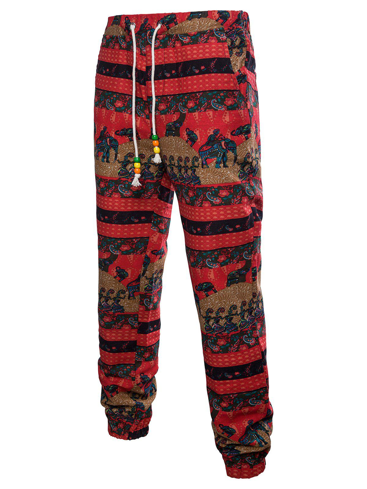New Drawstring Waist Elephant Striped Pattern Sweatpants