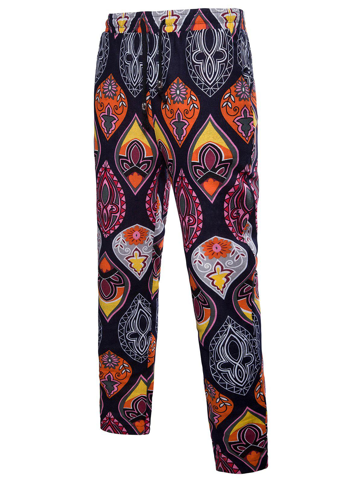 Trendy Ethnic Drawstring Straight Leg Paisley Printed Casual Pants