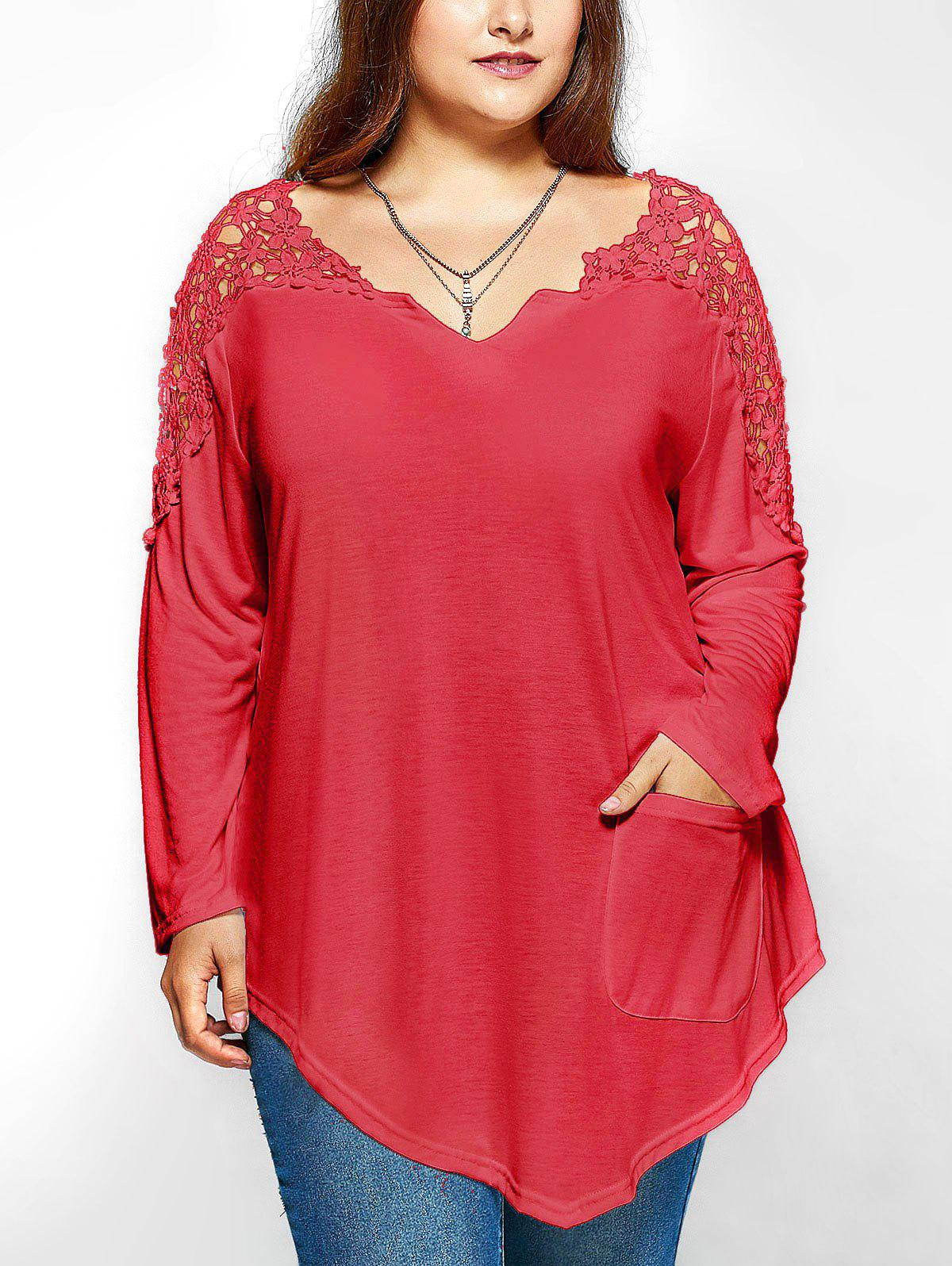 Latest Plus Size Lace Insert Long Sleeve Tunic T-Shirt