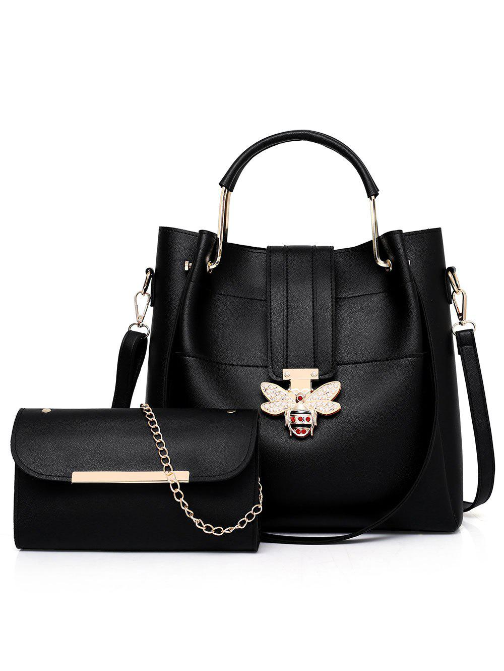 Fashion 2 Pieces Bee Shape Closure Embellished Handbag Crossbody Bag Set