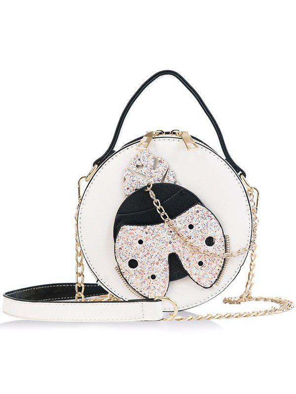 Trendy Round Shape Shining Ladybud Chain Crossbody Bag