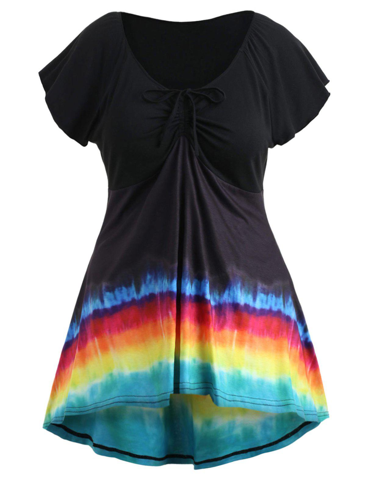 Discount Plus Size Rainbow Ruched T-shirt