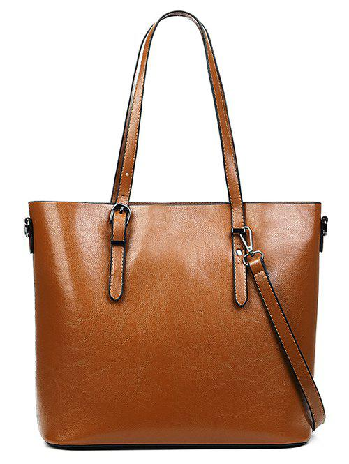New PU Leather Light Tote Bag with Shoulder Strap