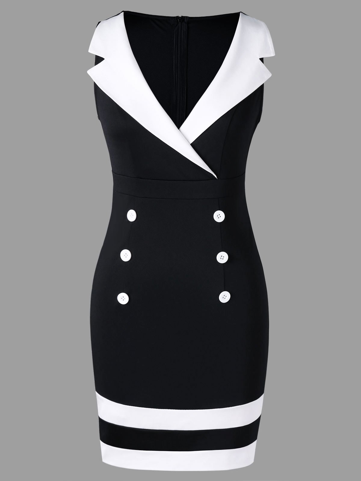 350e4e183bc 28% OFF  Double Breasted Notched Collar Tight Dress
