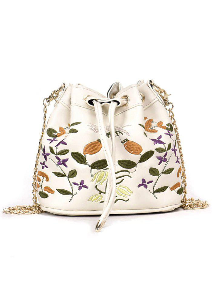 Chic Embroidery Drawstring Crossbody Bag with Chain Strap