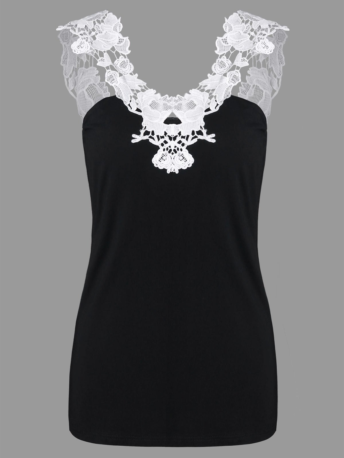 Fashion Lace Applique Cut Out Tank Top