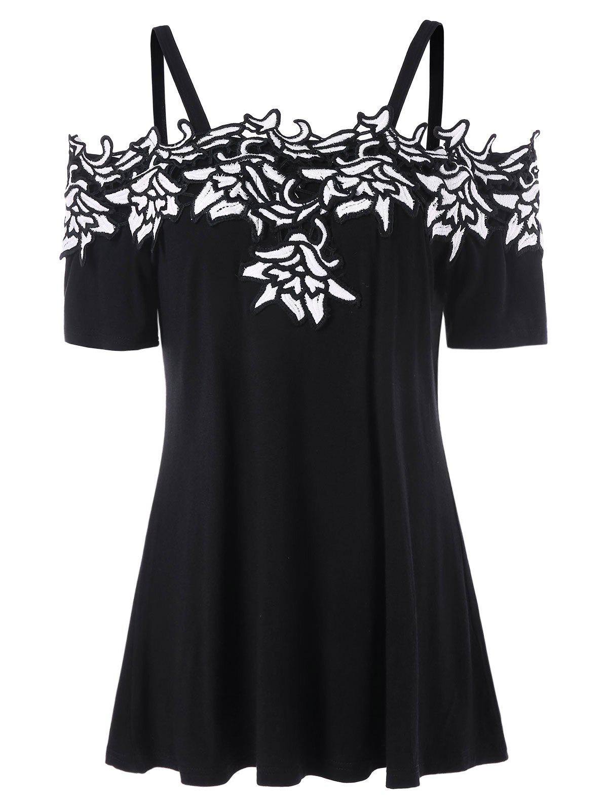 Fancy Cold Shoulder Contrast Lace Applique T-shirt