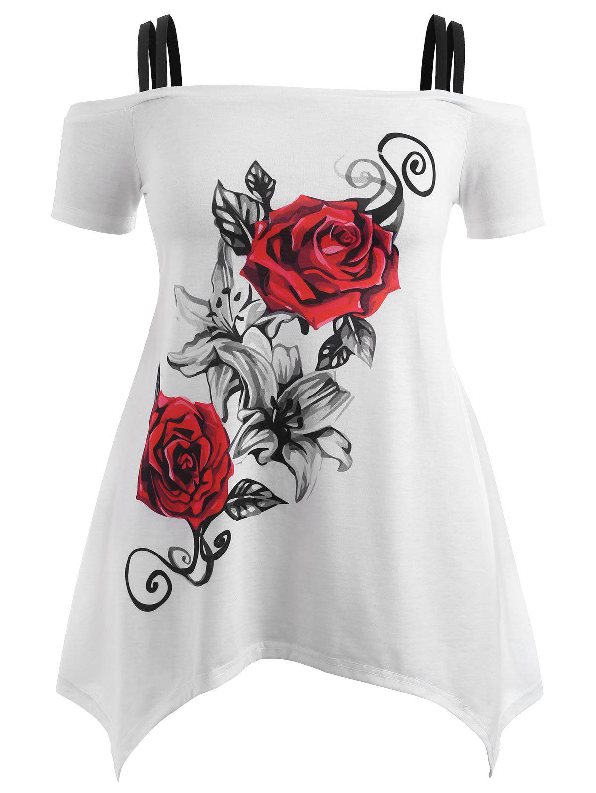 f44d3f9b 33% OFF] Cold Shoulder Plus Size Rose T-shirt | Rosegal