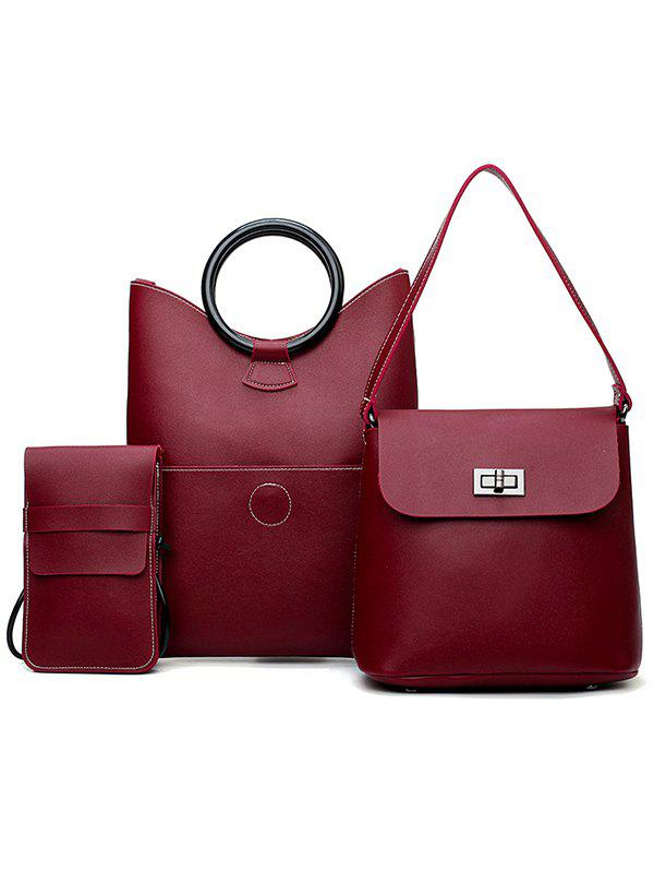 Shop PU Leather Simple Design 3 Pieces Shoulder Bags