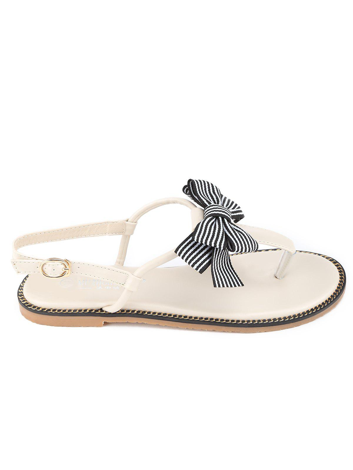 Fashion T Strap Bowknot PU Leather Flat Heel Sandals