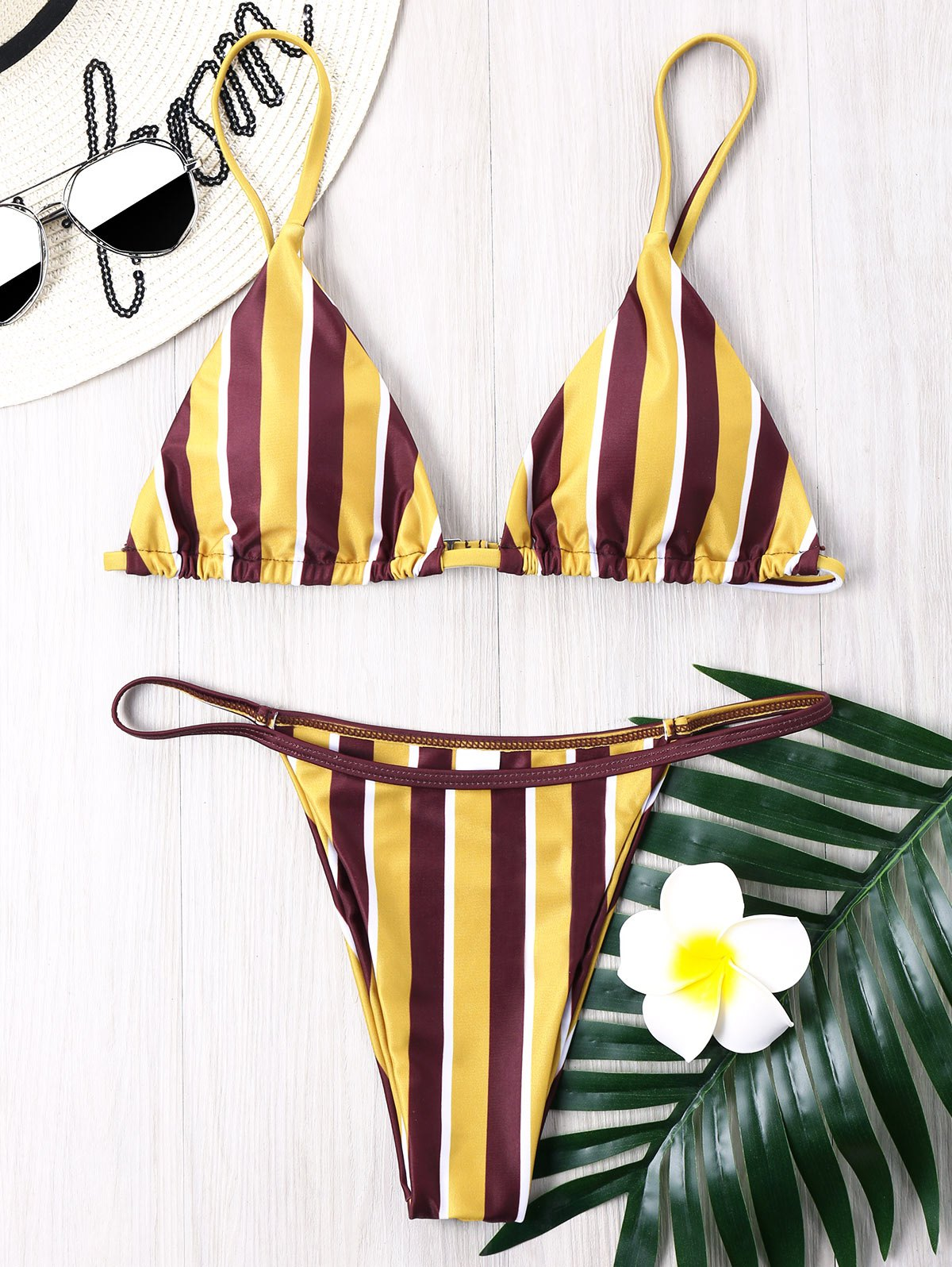 Buy Striped Thong Bikini Set