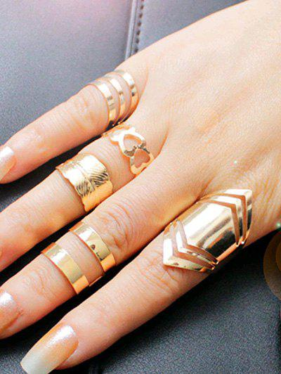 Outfits Simple Metal Feather Heart Cuff Finger Ring Set