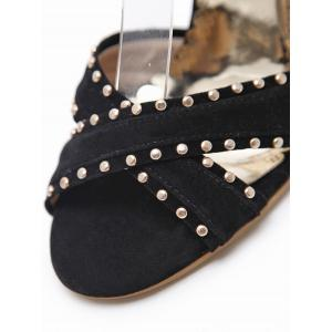 Studded Ankle Wrap Chunky Heel Sandals -