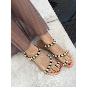 Ankle Strap Faux Pearl Toe Ring Sandals -