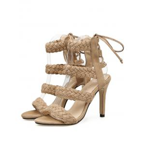 Stiletto Heel Braid Design Lace Up Sandals -