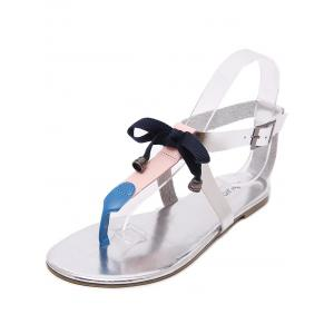 PU Leather Bowknot Bell T Strap Sandals -