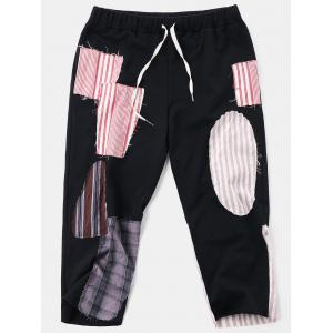High Rise Drawstring Patched Beggar Pants -