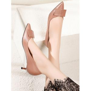 Lanbaoli Bowknot Decor PU Leather Pointed Toe Low Heel Pumps -
