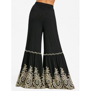 Applique High Waist Bell Bottom Pants -