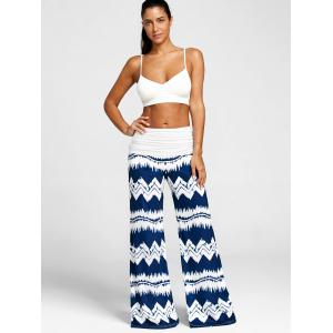 Zigzag Print Wide Leg Casual Pants -