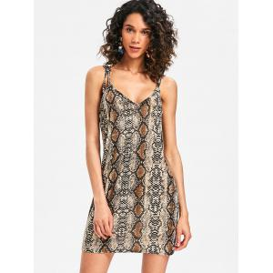 Plunge Snakeskin Print Bodycon Dress -