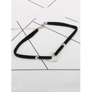 Circle Double Bead Velvet Choker Necklace -