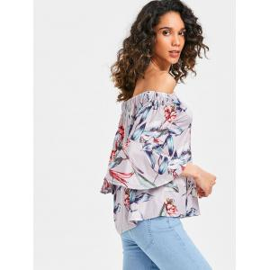 Bell Sleeve Off The Shoulder Printed Blouse -